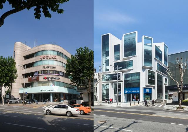 Chungha Building in Seoul before and after its transformation, image by MVRDV