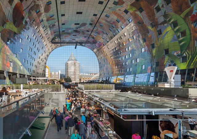 Interior of the new Market Hall in Rotterdam, image courtesy of MVRDV