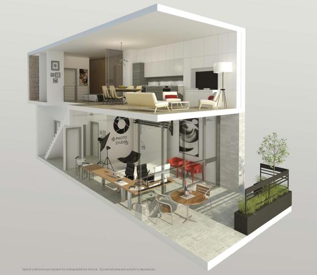 Interiors of the two-storey live-work units, image courtesy of TAS
