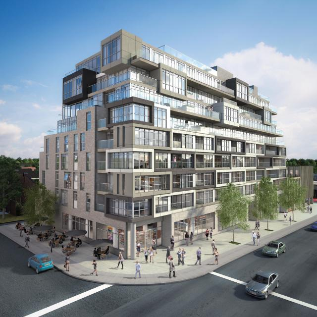 Nest Condos at the corner of St. Clair and Hendrick, image by Rockport Group