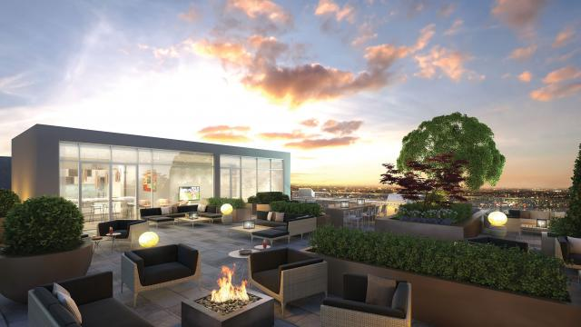 Rooftop terrace provides seating space for residents, image by Rockport