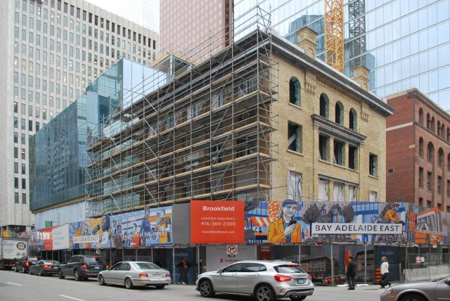 Restored historic facades stand at Yonge and Temperance, image by Marcus Mitanis