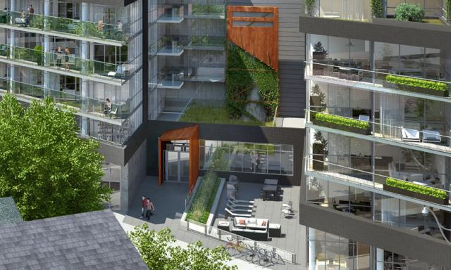 A courtyard will sit between the two buildings, image by Triumph Developments