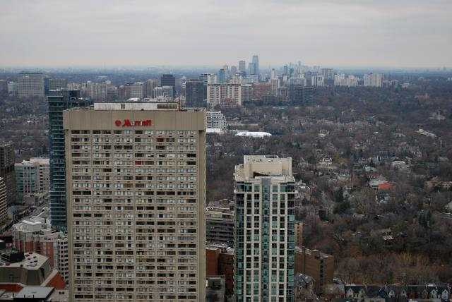 View to the north, with clusters around Yonge visible, image by Marcus Mitanis