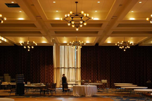 The SOCO ballroom is prepared for an event, image by Marcus Mitanis