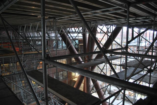 The atrium is taken over by a mass of scaffolding, image by Marcus Mitanis