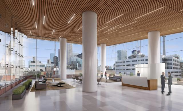 eOne will occupy the fifth floor sky lobby, image by Allied Properties REIT