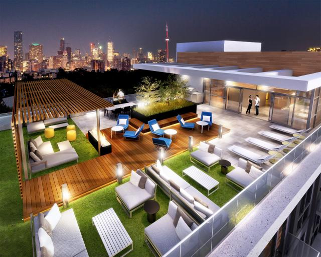 The rooftop terrace is accessible to all residents, image by Madison/Fieldgate