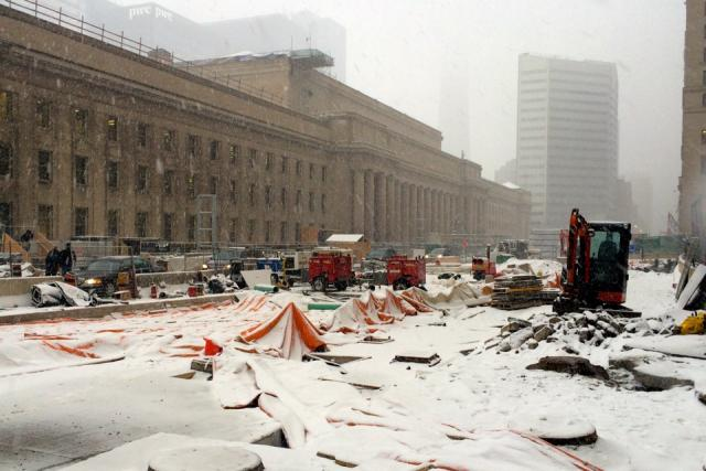 Construction outside of Toronto Union Station hints at what's going on within