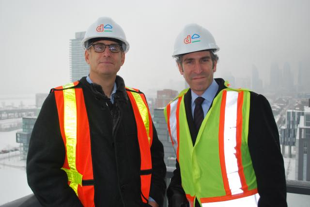 Jason Lester and Ken Tanenbaum pose atop Canary Park, image by Marcus Mitanis
