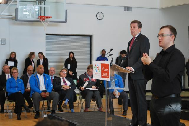 Mayor Tory speaks about the Village and the City, image by Marcus Mitanis