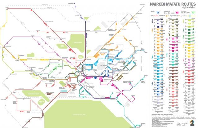 Map of Nairobi's matatus network, image courtesy of Civic Data Design Lab