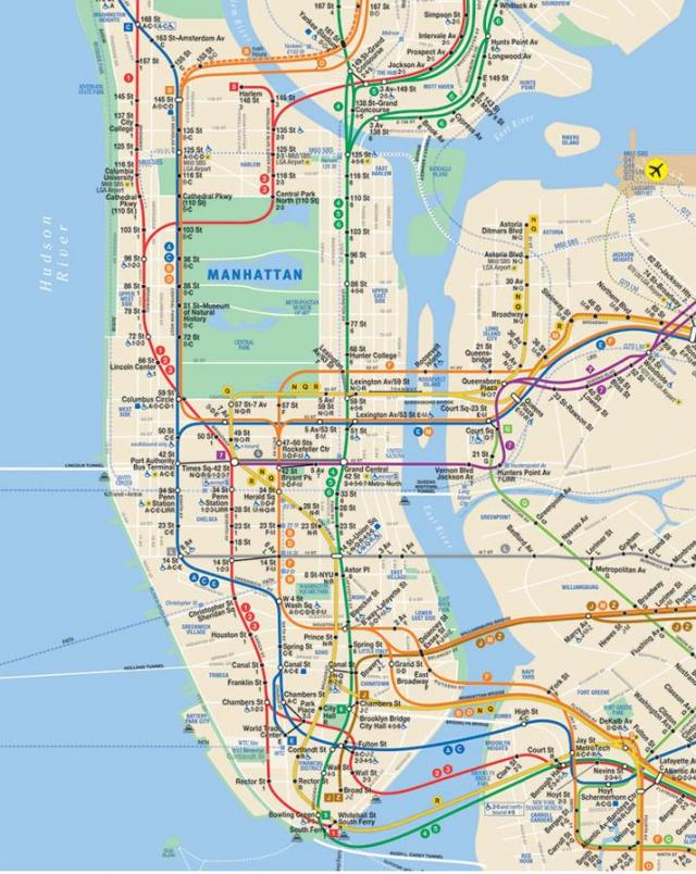 New York City subway map, image by the Metropolitan Transportation Authority