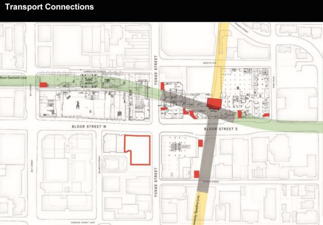 The One site outlined in red, in comparison to the Bloor-Yonge subway station
