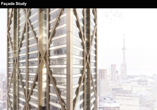 The exoskeleton of The One will protrude past the tower's cladding, Toronto