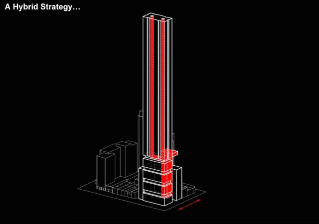 Vertical circulation for the tower residents at The One indicated in red