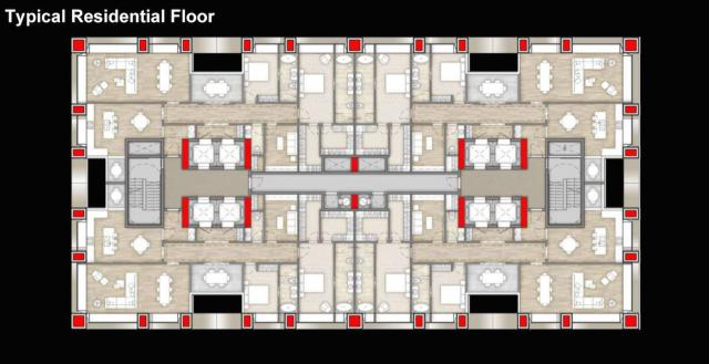 Typical layout of a higher floor with four two-bedroom suites per floor, The One