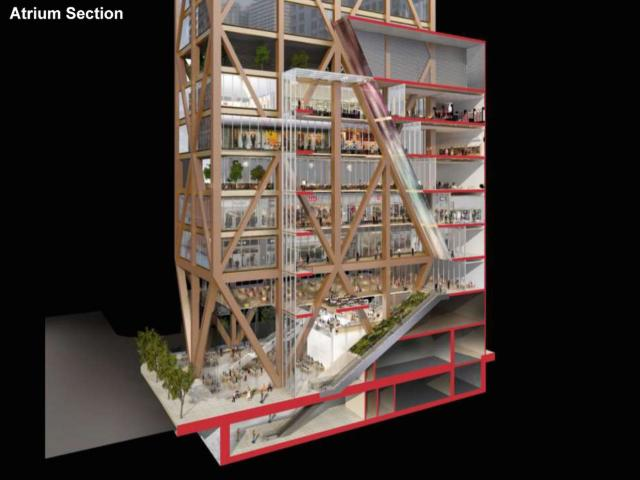 The retail atrium would extend 60 metres through the first 8 levels of The One