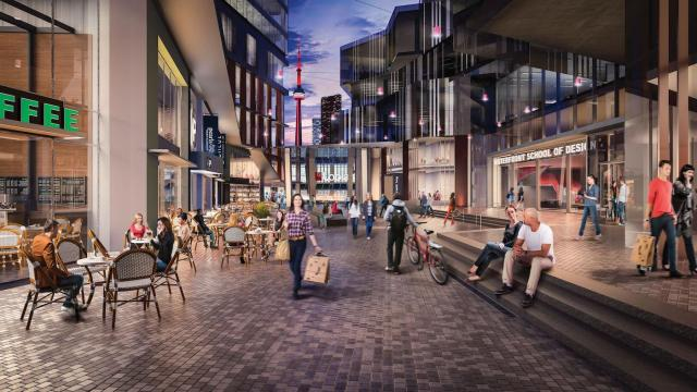'The Yard' promenade will connect the two phases, image by Daniels Corporation