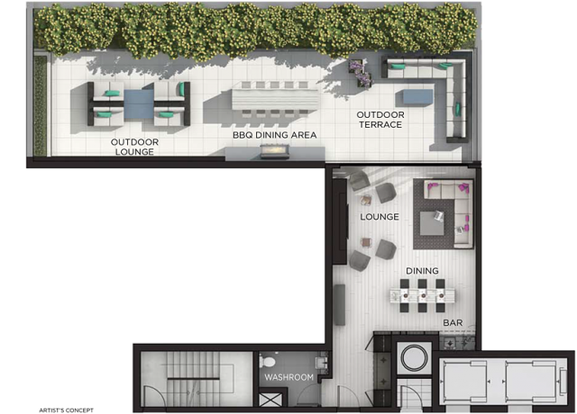 Floor plan of indoor and outdoor amenity areas, image by Fieldgate Homes