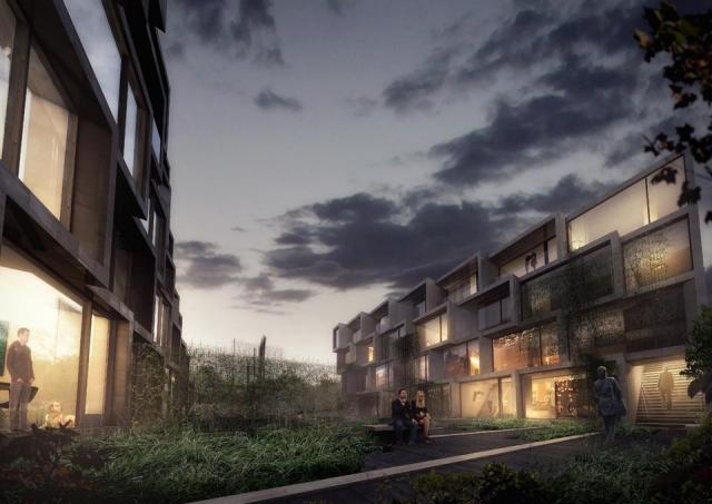 Block A and B will be separated by green space, image by Symmetry Developments