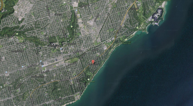 Boundaries of Birch Cliff, image retrieved from Google Maps