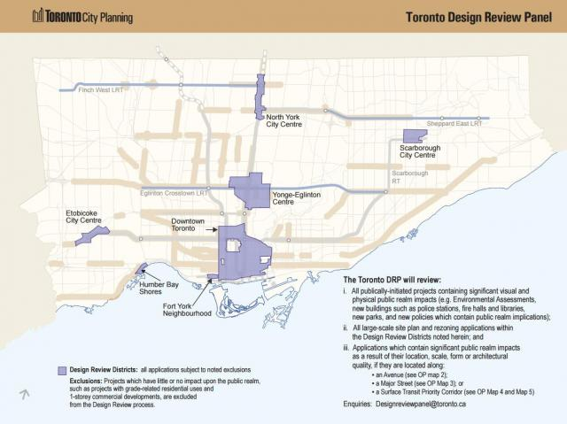 The established Design Review Districts, image courtesy of the City of Toronto