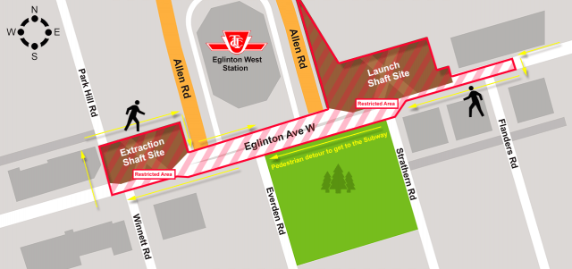 The elaborate move is outlined in this map, image courtesy of Metrolinx