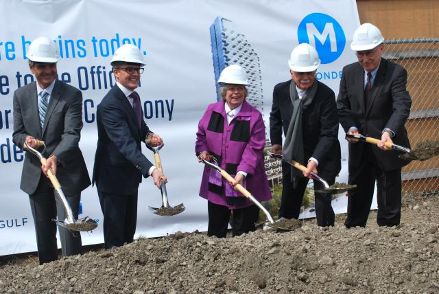 Officials break the ground for Monde, image by Marcus Mitanis