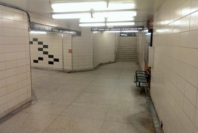 Existing pedestrian tunnel under Yonge Street to Eglinton subway station