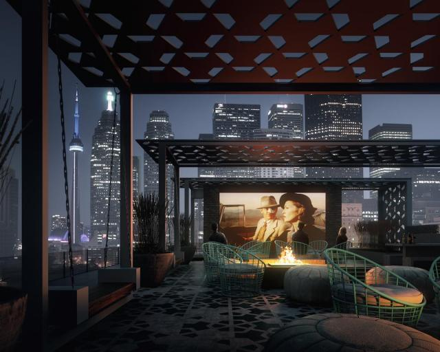 The rooftop terrace and movie lounge, image courtesy of SigNature Communities