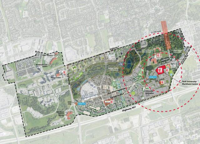 Context showing campus in relation to downtown Markham, image by York University