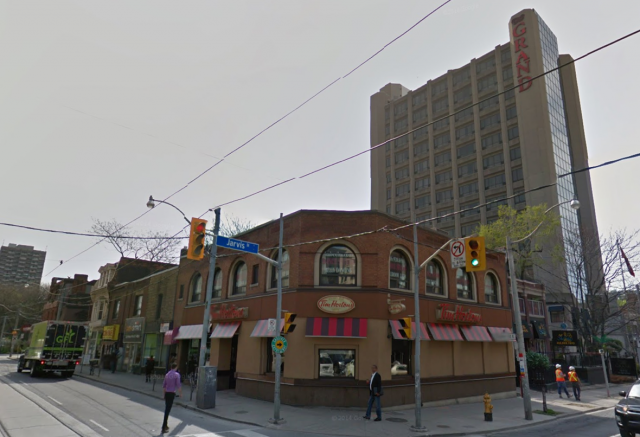 Southeast corner of Dundas and Jarvis, image retrieved from Google Street View