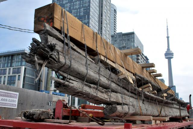 The 53-foot ship is secured and ready for moving, image by Marcus Mitanis