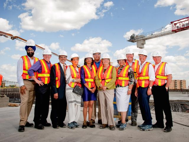 Celebrating the topping off of the Peel Memorial Centre, Wm Osler Health System
