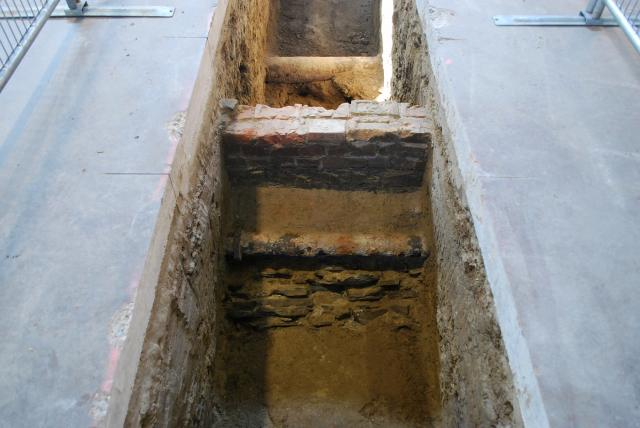 Trench 1 contains a brick box drain and cast iron pipes, image by Marcus Mitanis