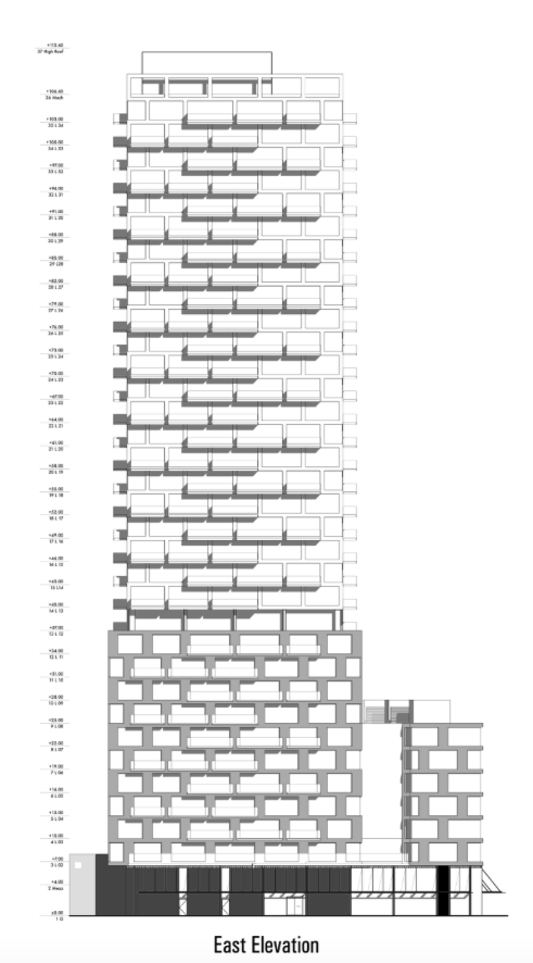 Proposed east elevation, 75 The Esplanade, City of Toronto