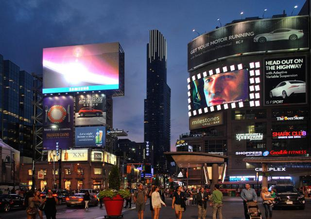 Aura by night from Yonge Dundas Square, image by Marcus Mitanis