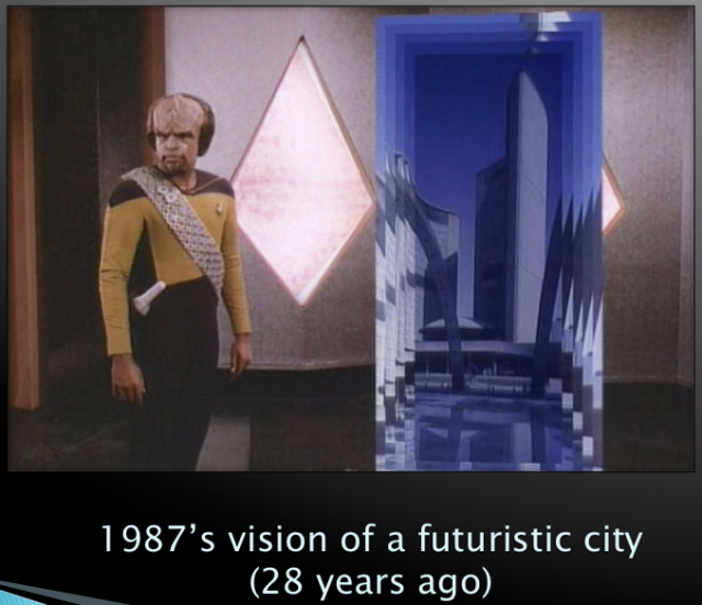 Representation of futuristic city in Star Trek, image by Robert J. Sawyer
