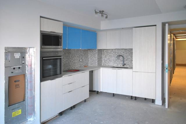 A kitchen nearing completion, Picasso Condos, Monarch, Mattamy, Goldman, Teeple