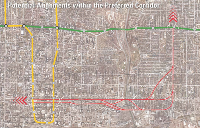 An early outline of the preferred 'B1' corridor, image courtesy of the City of T