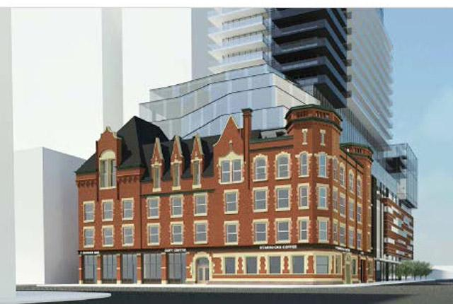 5-storey addition the top of Oddfellows Hall at 450 Yonge Street, Toronto