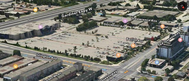 Queensway Cineplex site with restaurants, image retrieved from Apple Maps