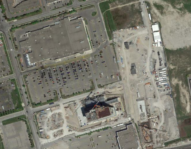 Satellite view of site, the library/YMCA will replace the southeast corner of th