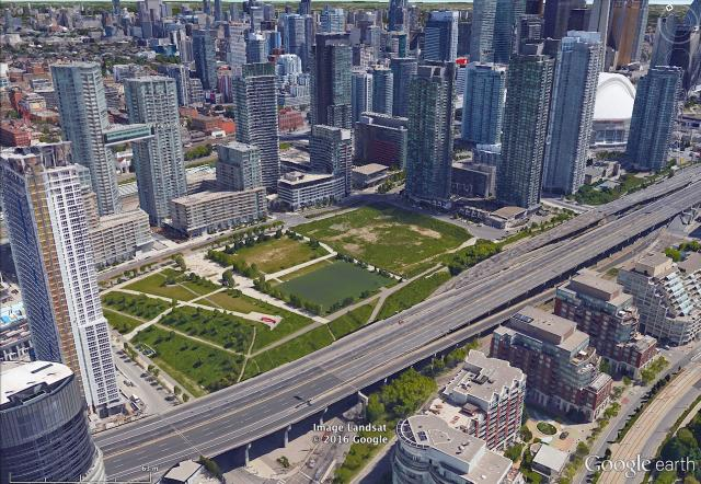 An aerial view of Concord CityPlace, Toronto, image retrieved from Google Earth