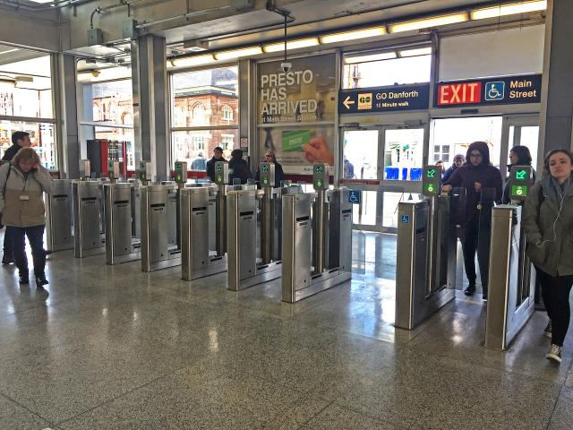 Two of the fare gates feature metropass readers, image by Stefan Novakovic