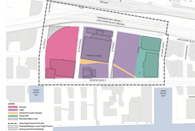 The Lower Yonge Precinct (LCBO in purple), the east half of LCBO lands will be d