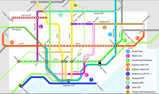 City Planning's 15-year transit plan, image courtesy of the City of Toronto
