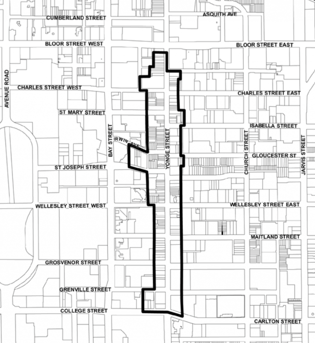 A map of the Yonge Street HCD, image courtesy of the City of Toronto