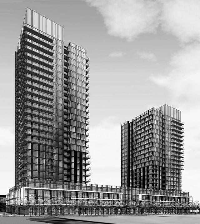 An early rendering of the towers at 1061 The Queensway, image retrieved via the